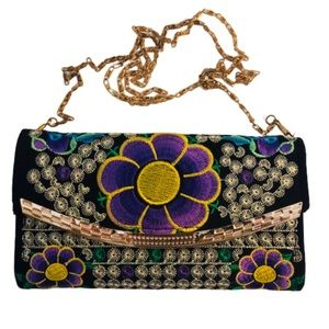 Boho Embroidered Wallet Purse Floral Chain Strap